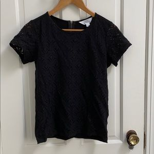 Black lace tshirt with zip back detail